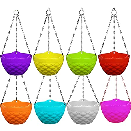 Store अपना Plastic Hanging with Chain Planter | Hanging Pots for Plants | Multicolor, Color May Vary (5)