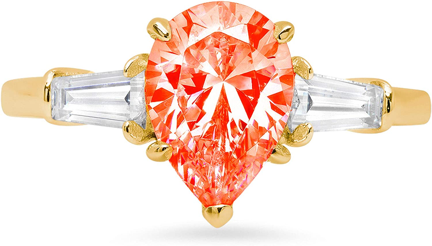 2.44ct Pear Baguette cut 3 stone Solitaire with Accent Red Ideal VVS1 Simulated Diamond CZ Engagement Promise Statement Anniversary Bridal Wedding Ring 14k Yellow Gold