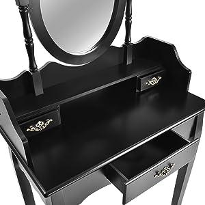 Miadomodo Specchiera toeletta tavolo da trucco con un grande cassetto e due piccoli cassetti con specchio e sgabello colore nero