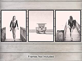Coco Chanel Surfboard Wall Art Print Poster Set - Unique Home Decor for Bedroom, Beach House - Gift for Women, Fashionista, Designer Fashion, Surfing Fans - (Set of Three) 8x10 Photos Unframed