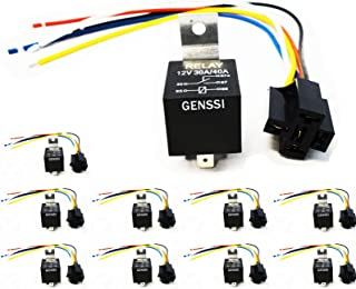 Genssi 30/40 AMP Auto LED Light Bar Relay Wiring Harness SPDT 12V 40A (10 Pack)
