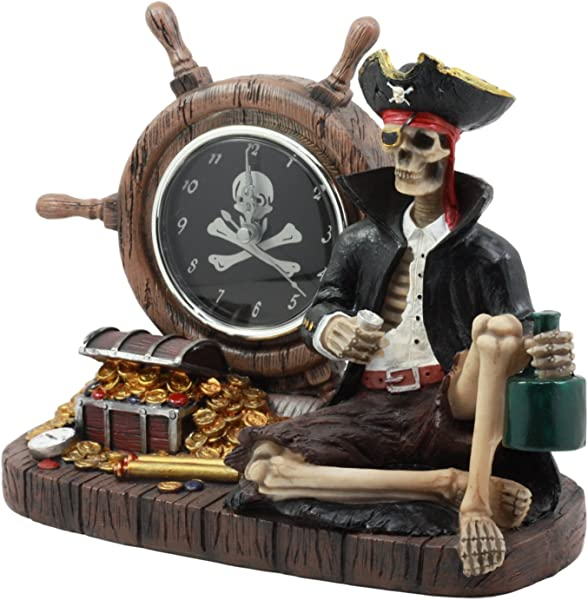 Ebros Drunken Pirate Captain Sparrow With His Rum Skeleton Analog Table Clock Figurine Pirate Rum O Clock Time Decorative Sculpture