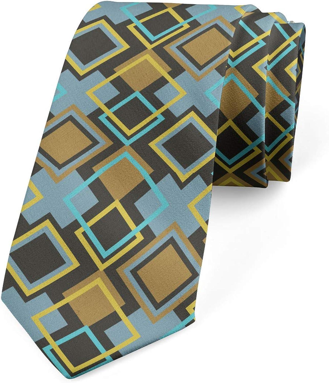 Ambesonne Necktie, Bullseye Modern Mosaic, Dress Tie, 3.7