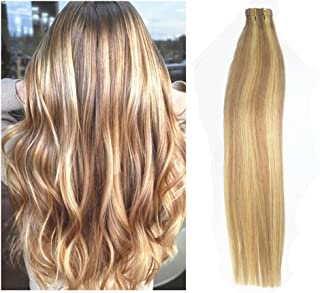 TheFashionWay 16-24 inches Brazilian Human Hair Extensions Tape in Silky Straight Weft Remy Virgin Hair (24 inches, 12-613)