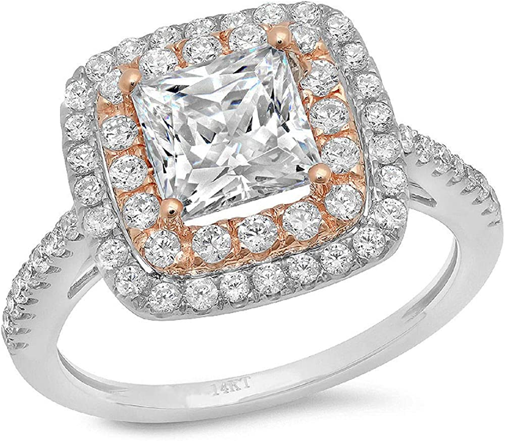 Animer and price revision 2.3ct Princess Cut Double OFFicial Halo Genuine Solitaire Lab Accent with