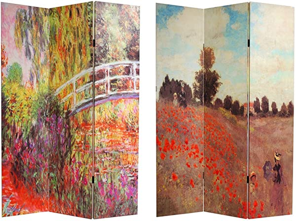 Oriental Furniture 6 Ft Tall Double Sided Works Of Monet Canvas Room Divider