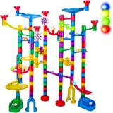 Marble Run Sets for Kids - 142Pcs Marble Race Track Marble Maze Madness Game STEM Building Tower Toy for 4 5 6 + Year Old Boys Girls(113 Pcs + 25 Glass Marbles + 4 Led Lighted Marbles)