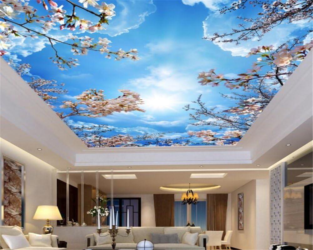 Amazon Com Mznm Custom 3d Blue Sky White Clouds Cherry Ceiling Roof Murals Wallpaper Living Room 3d Wallpaper Home Decoration 350x250cm Home Kitchen