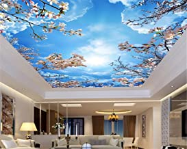 Mznm Custom 3D Blue sky white clouds cherry ceiling roof Murals Wallpaper Living Room 3d wallpaper Home decoration 200X140cm
