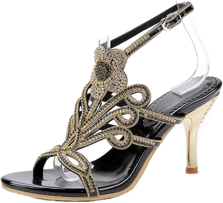 LizForm Women Studded Wedding Sandal Strappy Dress Sandal Slingback Heels Flower High Heels