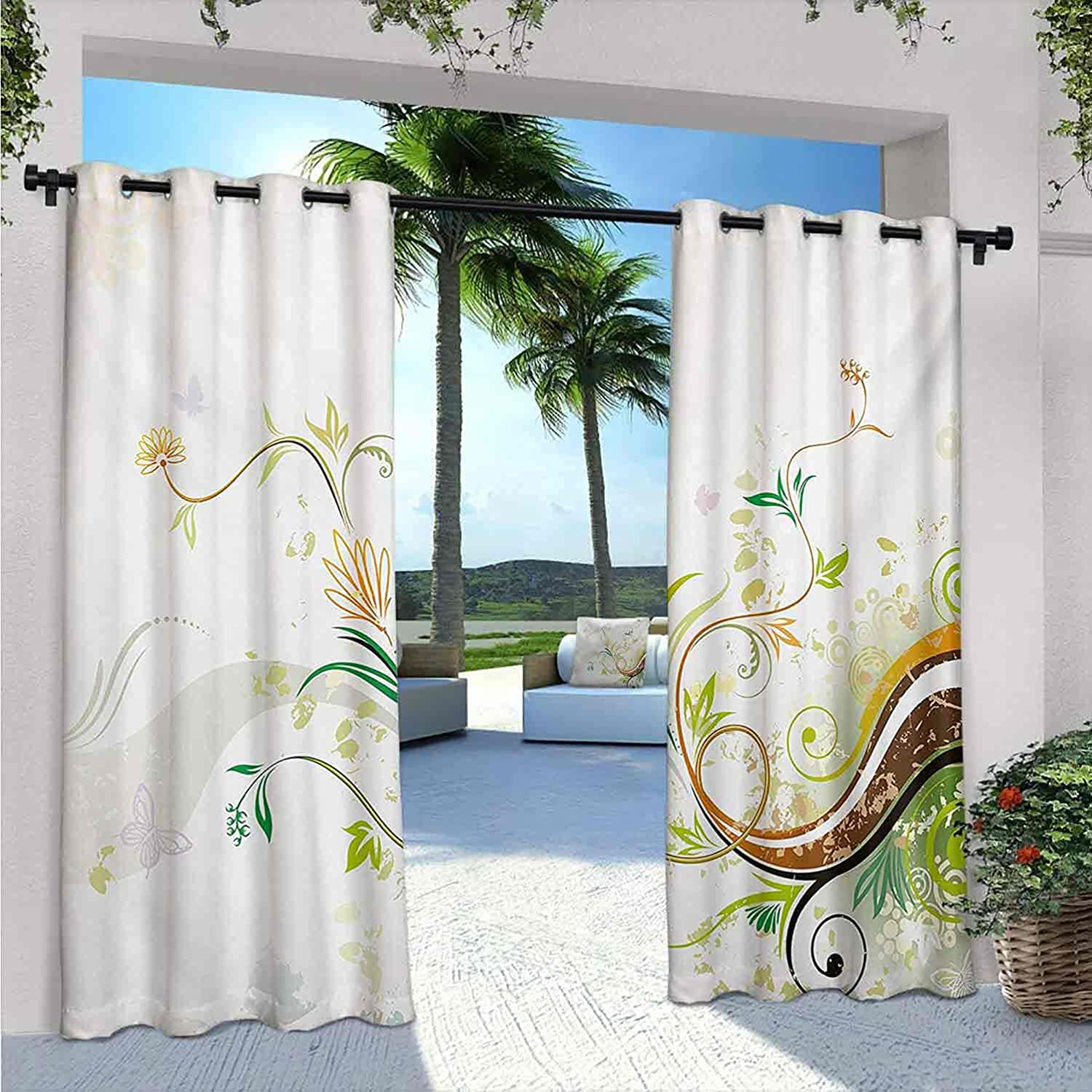 FloraOutdoor Curtains for Patio Modern Abstract Max 63% OFF Waterproof Dallas Mall Flow