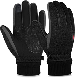 VBG VBIGER Winter Gloves Warm Knit Touchscreen Gloves Driving Motorcycle Cycling Gloves Black Work Gloves for Men Women