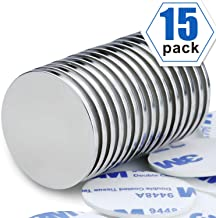 Powerful Neodymium Disc Magnets, Permanent, Rare Earth Magnets. Fridge, DIY, Building, Scientific, Craft, and Office Magnets, 1.26 inch x 0.08 inch, Pack of 15