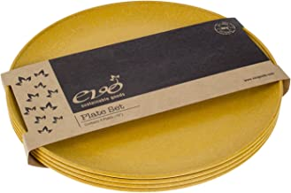"""EVO Sustainable Goods 10"""" Plate, Set of Four, Yellow"""