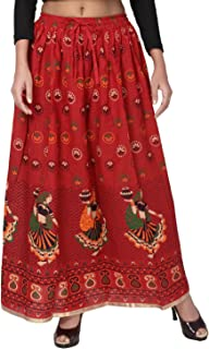 Krystle Women's Presents Jaipuri Rajsthani Full Long Cotton Skirt for Girls and Women (Free Size Red