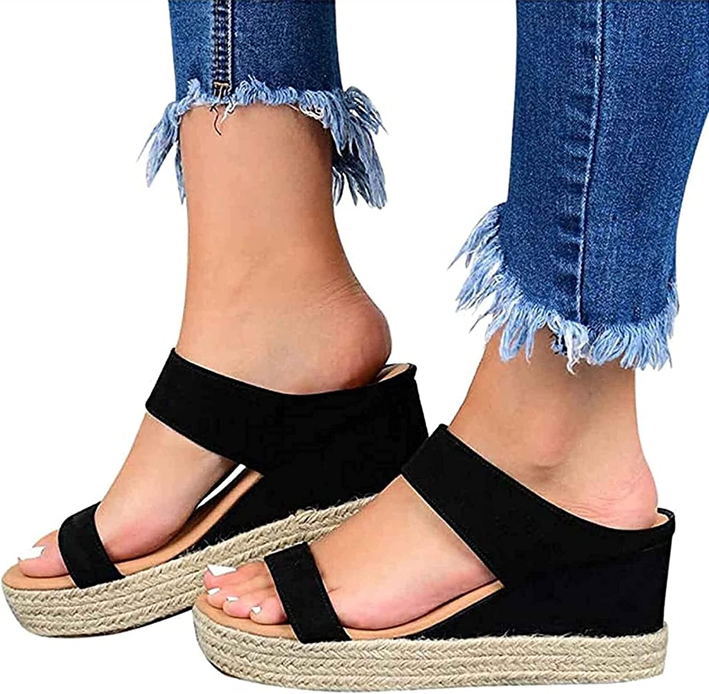 Platform Sandals Womens, Wedge Heel Sandals Summer Open Toe Casual Non Slip Breathable Indoor Outdoor Slip-On Straw Beach Wedges Slides (Color : Black, Size : 40)