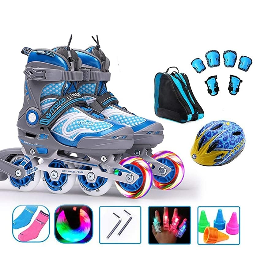 消費者礼儀永久TKW スポーツインラインスケート、子供フラッシュスピードスケート靴、男性と女性の初心者単一行スケート、青とピンク インラインスケート (Color : Blue, Size : L (EU37-40))