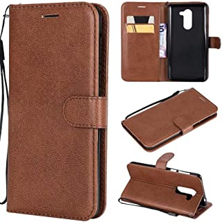 Protect Huawei Honor 6X Solid Color Premium Quality PU Leather Flip Wallet Stand Phone case with Wrist Strap for Fashion (Color : Brown)