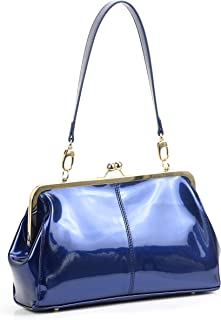 Vintage Kiss Lock Handbags Shiny Patent Leather Evening Clutch Purse Tote Bags with Two Straps