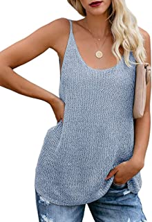 Women Oversize Scoop Neck Tank Tops Causal Sleeveless Knit Shirts Tunic Camis Loose Fashion Summer Sweater Vest Blouses