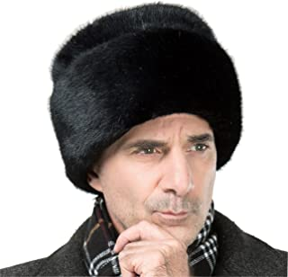 Onlineb2c Men's Faux Mink Fur Hat Russian Cossack Winter Warm Hat Ski Cap