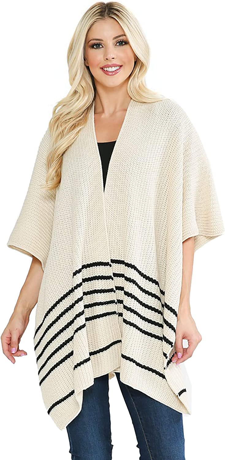 Striped Chunky Knit Kimono Loose Cover Up- Textured Open Front Cardigan Shawl Cape Sweater Top for Layering