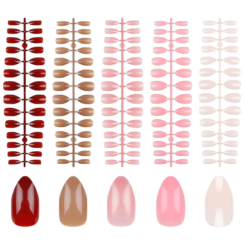 EA 560 Pieces 5 ☆ popular Colors Medium Stiletto Nails Almond False Gloss Outlet SALE