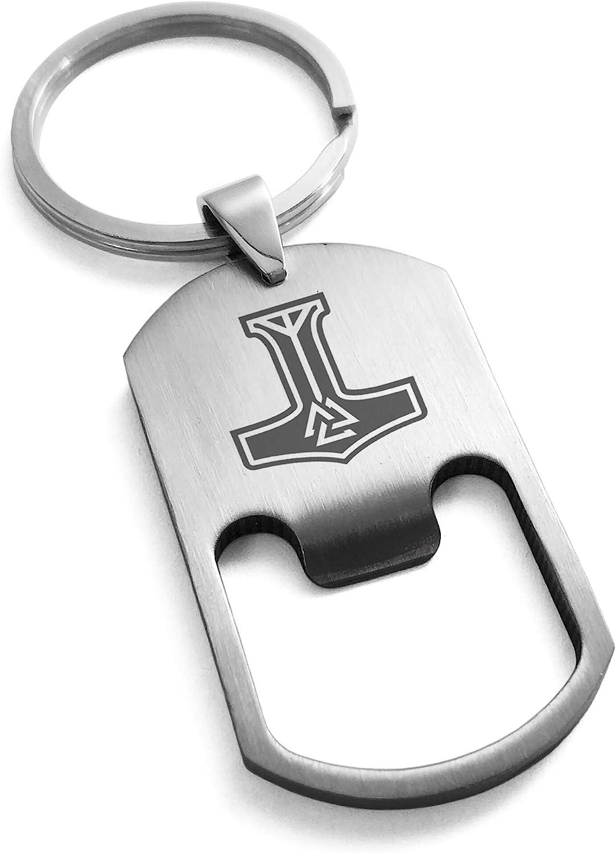 Stainless Steel Valknut Mjolnir Thor's Hammer Bottle Opener Dog Tag Keychain Keyring