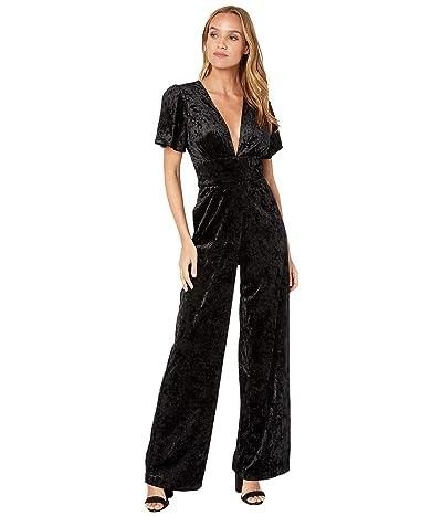WAYF Amato Button Front Jumpsuit (Black Crushed Velvet) Women