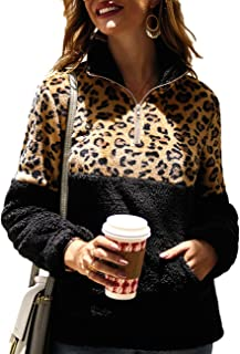Women Long Sleeve Half Zip Pullover Sherpa Fuzzy Leopard Print Jacket Patchwork Fleece Sweatshirt with Kangaroo Pocket