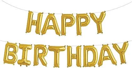 Fecedy Gold Happy Birthday Balloons Banner,Aluminum Foil Balloons Alphabet Balloons for Birthday Party Decoration