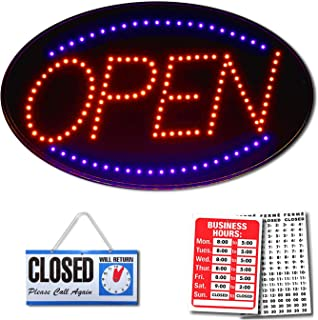 LED Open Sign - 23 x 14 inch LED Business Open Sign Advertisement - Electric Display Sign - Dual Modes for Flashing & Steady Light for Business Storefront, Walls, Window, Shop, Bar