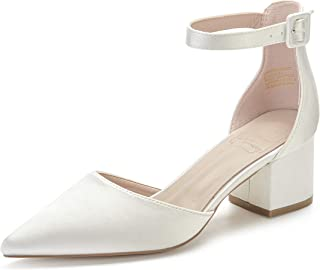 MarHermoso Pointed Toe Ankle Strap D'Orsay Block Heel Bridal Wedding Pumps Shoes
