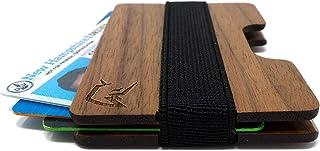 Front Pocket Minimalist Wallet made from Black Walnut Wood. Mens Credit Card Wallet. Thin Money Clip Elastic Band Wallets....