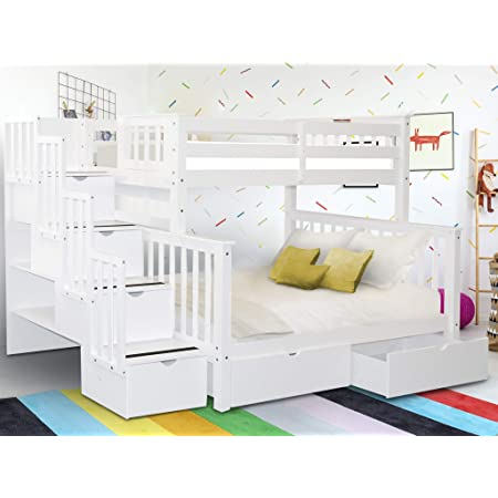 Amazon Com Bedz King Stairway Bunk Beds Twin Over Full With 4 Drawers In The Steps And 2 Under Bed Drawers White Furniture Decor