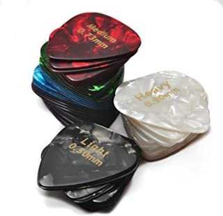 Celluloid Guitar Picks 30 Pcs - Recommended Electric, Acoustic or Bass Plectrum Colorful Cool Set - Thin (Light), Medium and Heavy Unique Variety Pack -Awesome Kids, Beginner and Pros Assorted Sampler