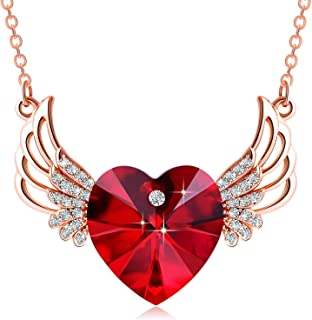 PLATO H Angel wing Heart Necklace Crystals from Swarovski for Women Girl Guardian Angel Pendant with Dainty Jewelry Box