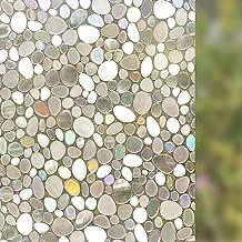 Bloss 3D Window Film Decorative Window Films Glass Film Static Cling Pebble Window Films Window Cling Film Vinyl Film No Glue Anti UV Heat Control for Home Deor, 17.7-by-78.7 Inches