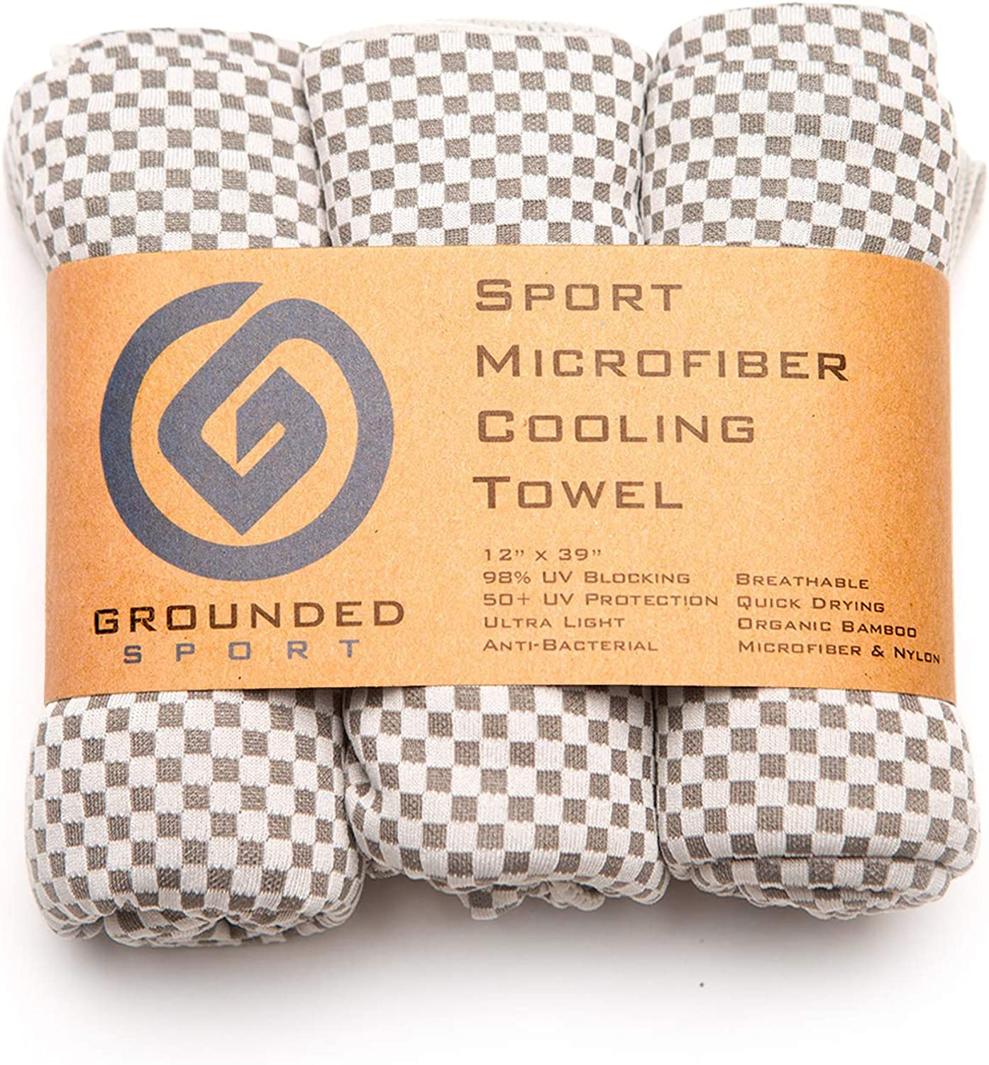 Grounded Sport Ultra Lightweight Compact (12  x 39 ) Cooling Towel 3-Pack (Packaged as Shown) Bamboo Microfiber Towel for Outdoors, Gym, Travel or Gifts