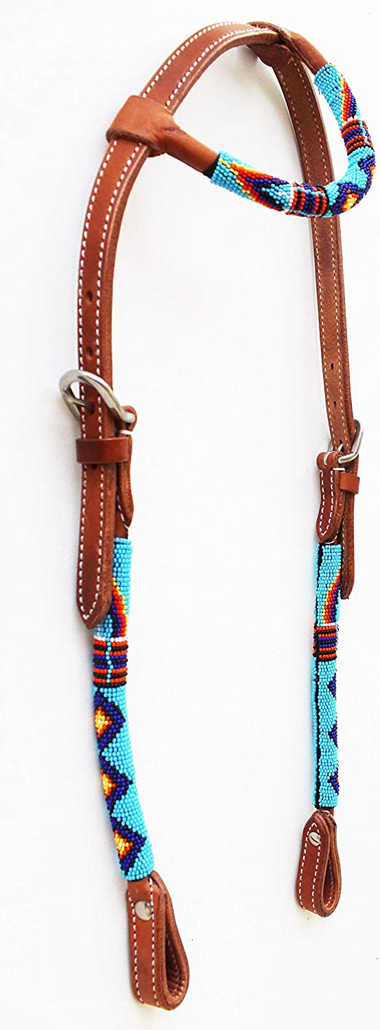 (Tan One Ear set) - Horse Show Bridle Western Leather Headstall 79RT01