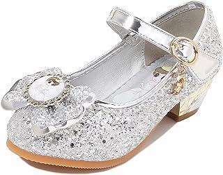 Yozace Chaussures de Princesse Filles Sequin haussure à Talon Enfant Ballerine Talons Hauts Doux Ceremonie Fille Reine des...