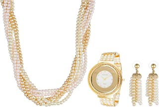 Charles Delon Women's Mother Of Pearl Dial Pearl Band Pendant Necklace, Earrings With Watch Set - 5575