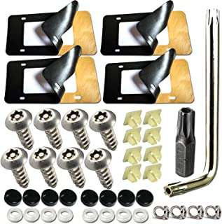 Anti Theft License Plate Screws- 4 Pack License Plate Pads, High Density Black Foam License Plate Damping Pads and 8 PCS Stainless Steel License Plate Anti Theft Bolts,Screw Caps Kit