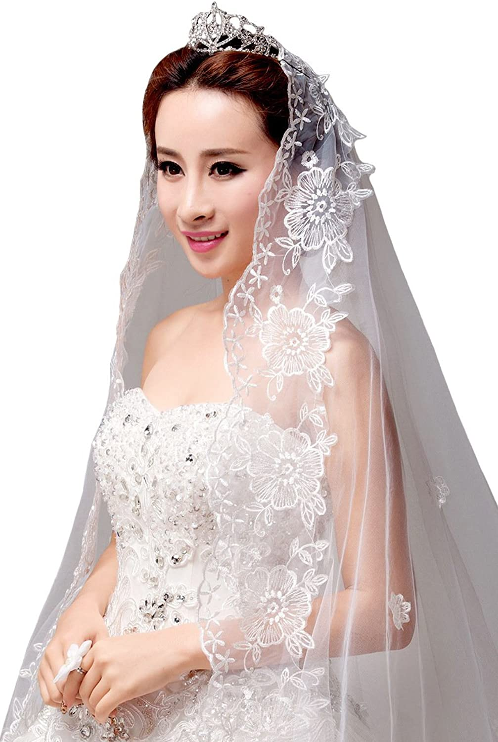 AliceHouse 2017 Women's Birdcage Long Gorgeous Lace Chapel Cathedral Wedding Veils MV29