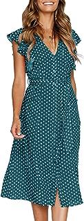 MITILLY Women's Summer Boho Polka Dot Sleeveless V Neck Swing Midi Dress Pockets