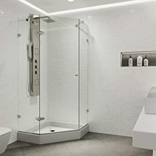 two sided glass tub enclosure