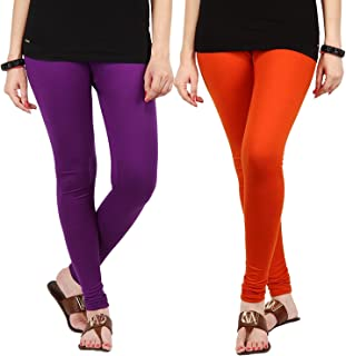 FabLab Cotton Lycra Churidar Leggings(FLCLCOMBO2PURPO,Purple, Orange,Free Size) Combo Pack of 2