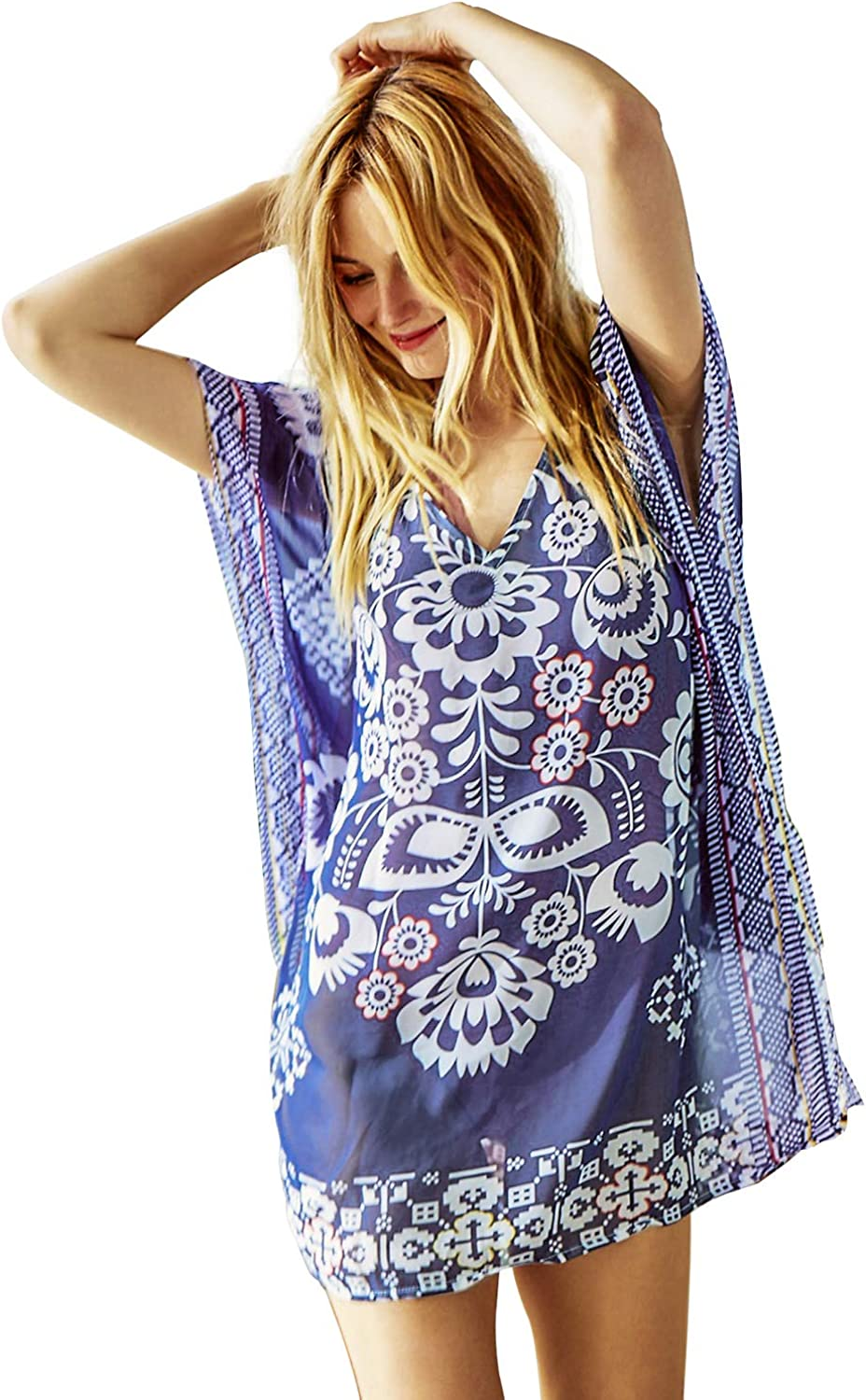 CUPSHE Women's Navy Blue Half Sleeve Floral Print Cover Up