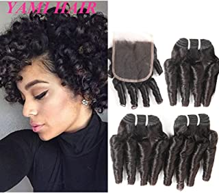 Brazilian Virgin Funmi Hair 3 Bundles with Closure, Spiral Curl Hair Bundles Short Curly Weave Unprocessed Brazilian Bouncy Curly Human Hair Extensions for black Women 50g/pc (8 8 8 with 8