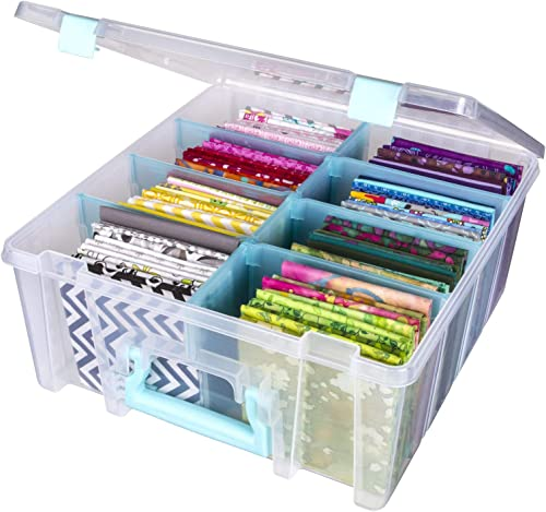 ArtBin 6990SA Super Satchel Double Deep with Removable Dividers, Large Portable Art & Craft Storage with Handle, Tran...